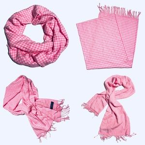 Cashmere 100% pink/white houndstooth scarf